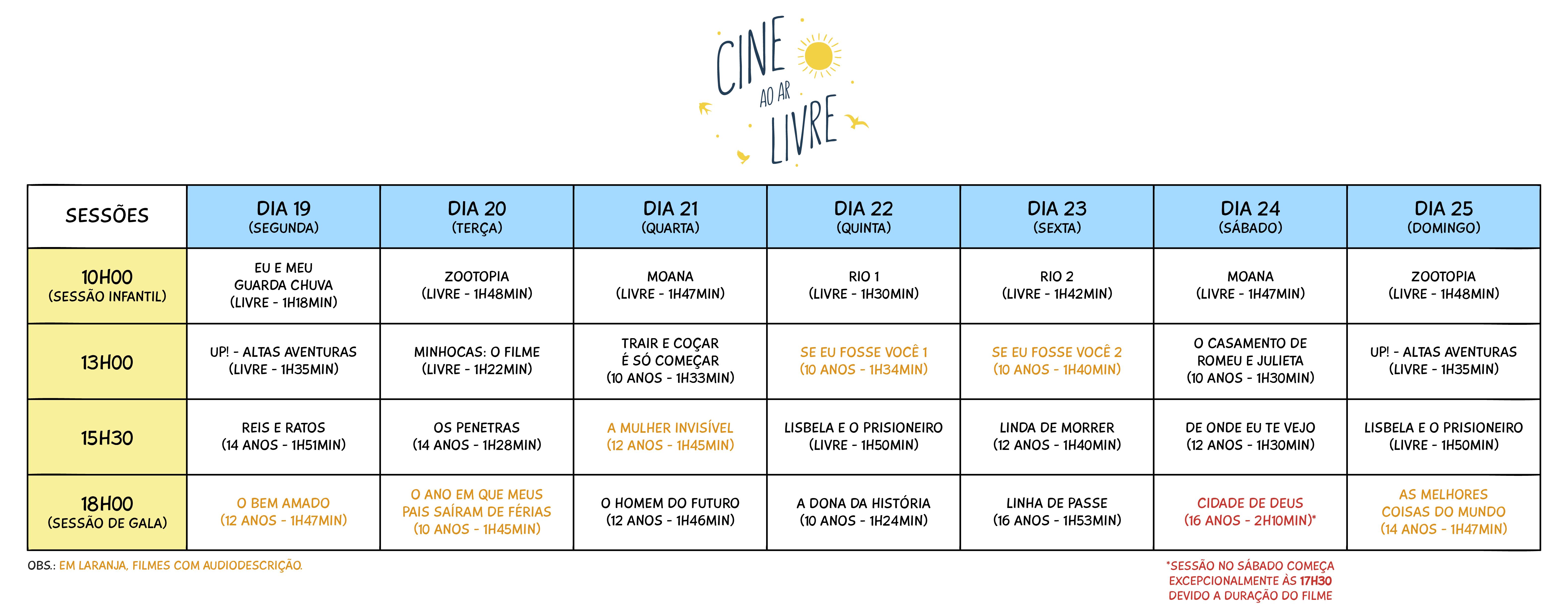 programação cine ar livre
